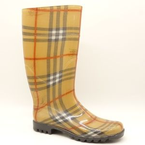 BURBERRY Classic Plaid Rubber Knee High Rain Boots